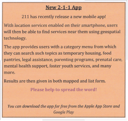 New 2-1-1 Mobile App for Support Services!