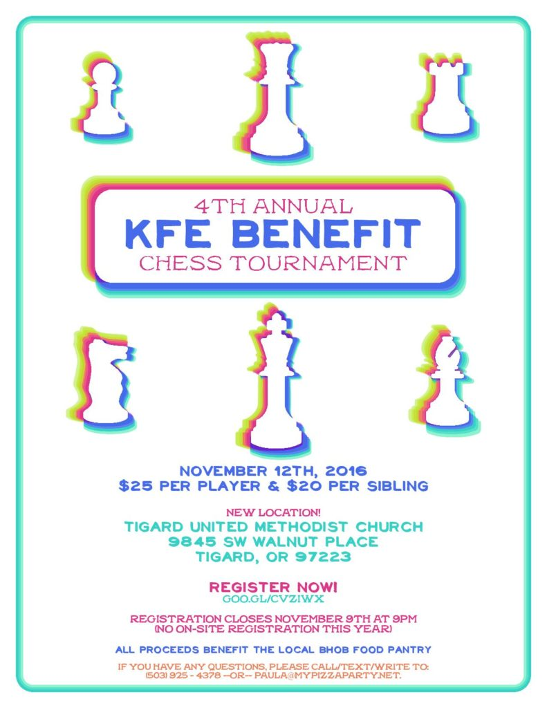 4th Annual KFE Benefit Chess Tournament for 2016