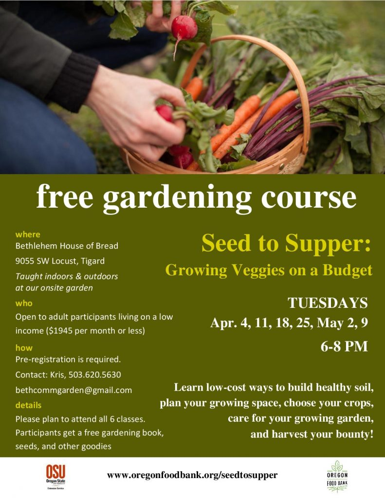 Free Gardening Course, Seed to Supper, Starts April 4, 2017