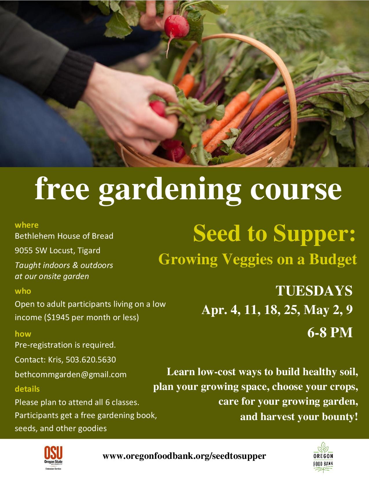 Free Gardening Course Seed To Supper Starts April 4