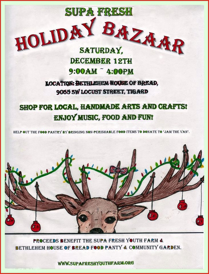 This year's Holiday Bazaar is on Saturday, December 12, 2015 at BHOB