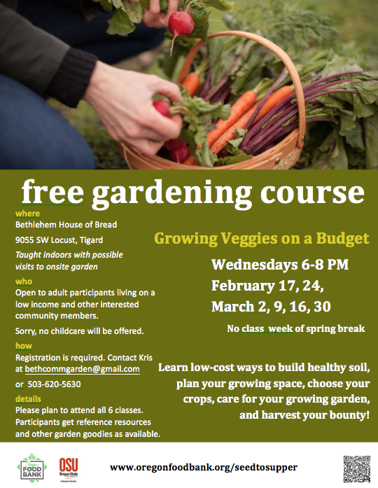 Seed to Supper Class Starting In February 2016