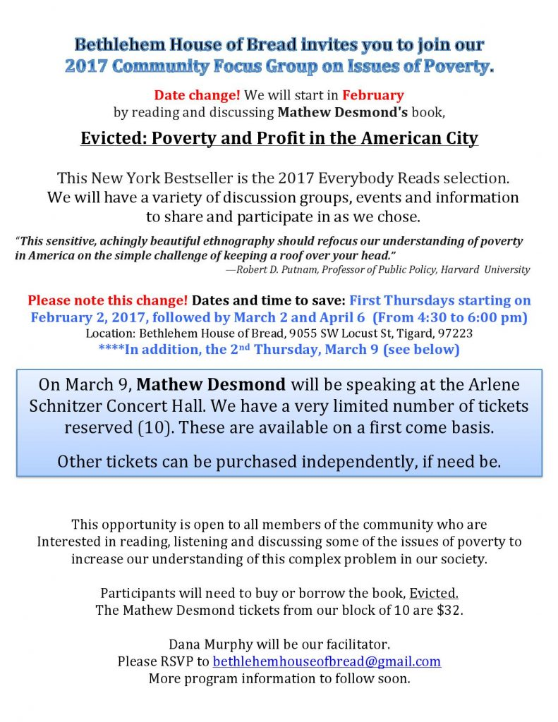 Community Focus Group Date Change, Starting February 2, 2017
