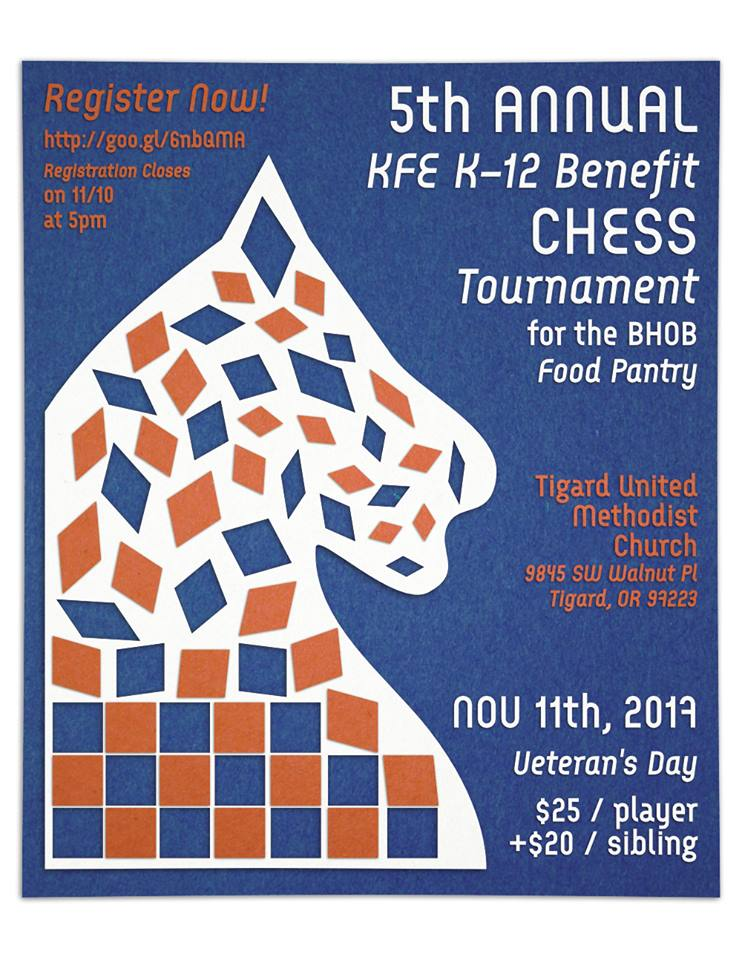 5th Annual KFE Benefit Chess Tournament for the BHOB Food Pantry 2018