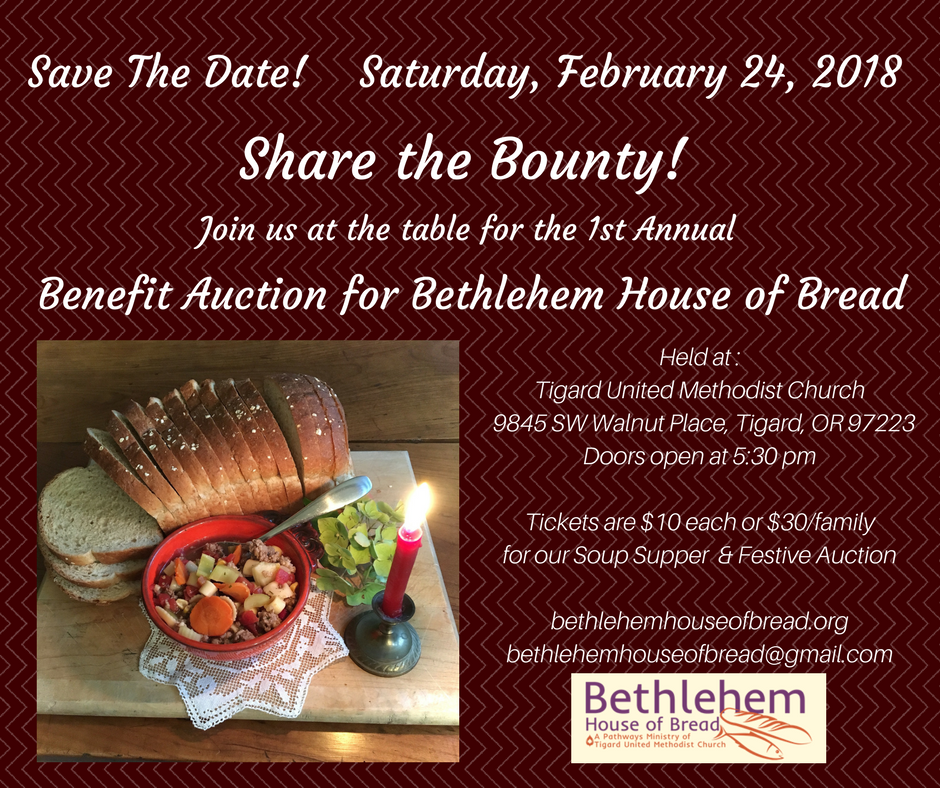 Save the Date for our 2018 Share the Bounty Benefit Dinner and Auction!