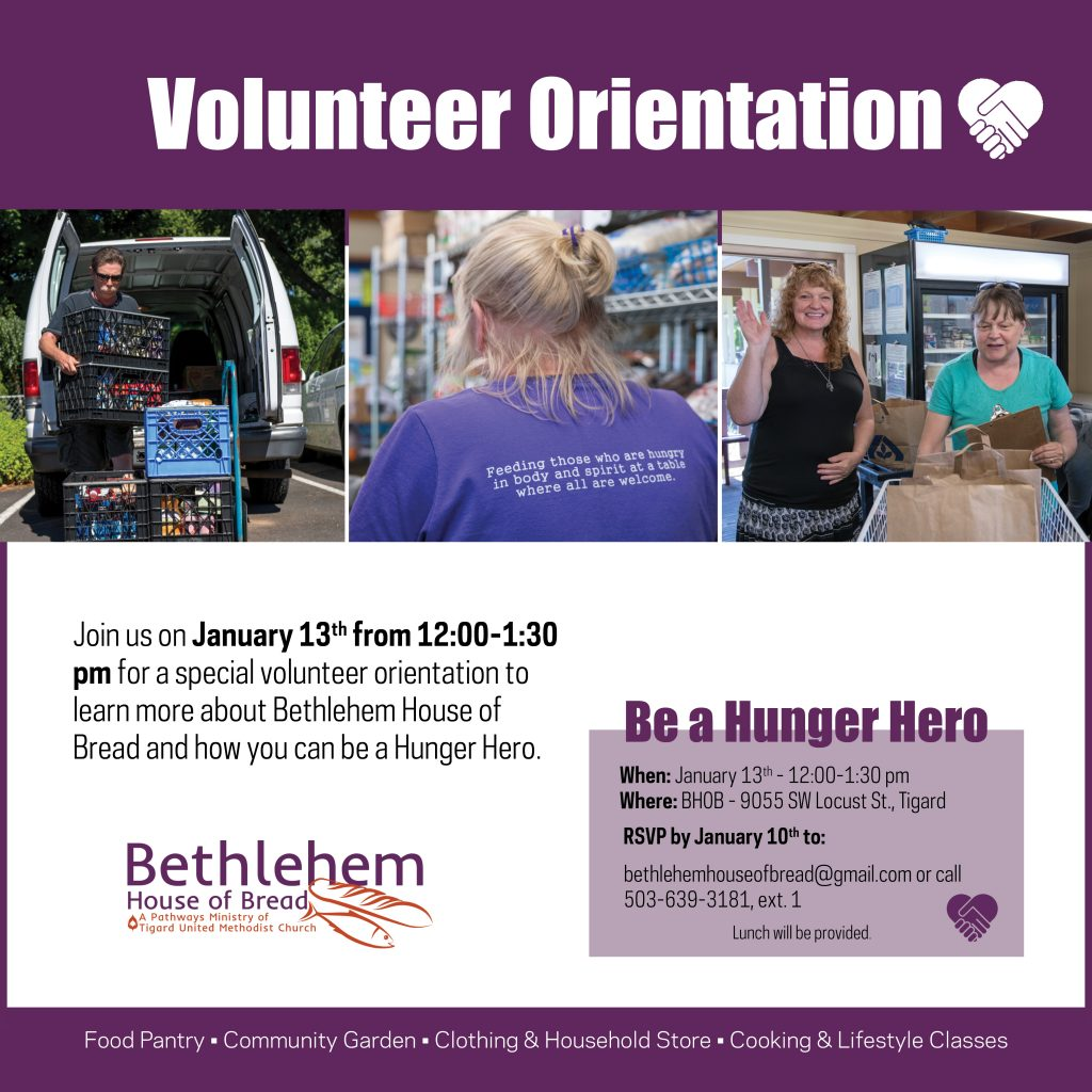 Volunteer Orientation – January 13