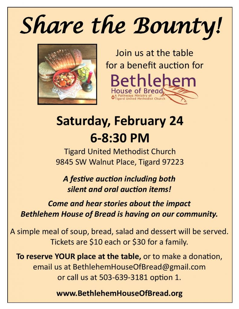 2018 Benefit Auction for Bethlehem House of Bread, February 24