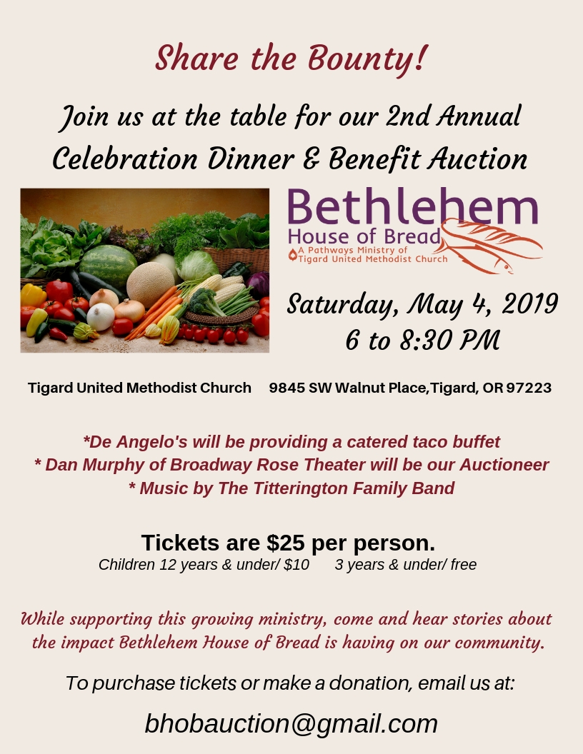 Annual Celebration Dinner and Benefit Auction May 4, 2019